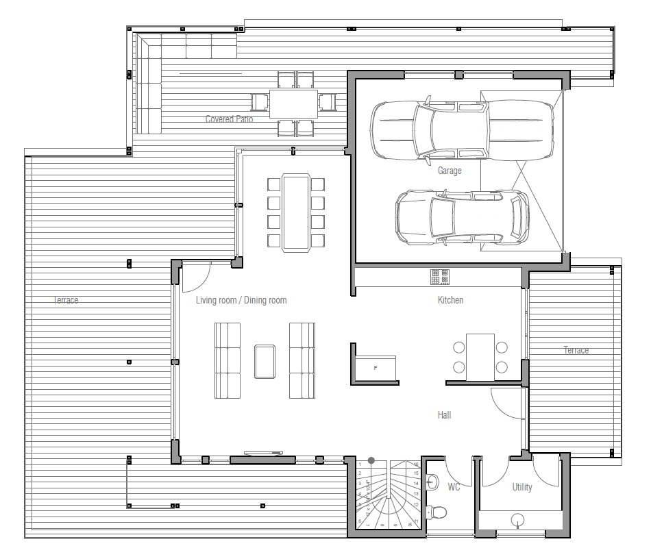 Modern house plan with very large balcony house plan - Modern home designs and floor plans ...