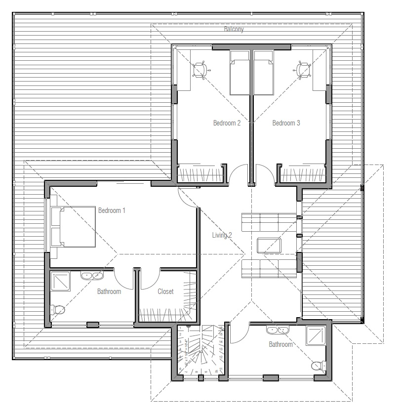 Modern House Plan With Very Large Balcony House Plan