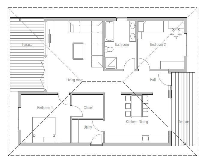 Small House Plan To Tiny Lot With Two Bedrooms And Covered