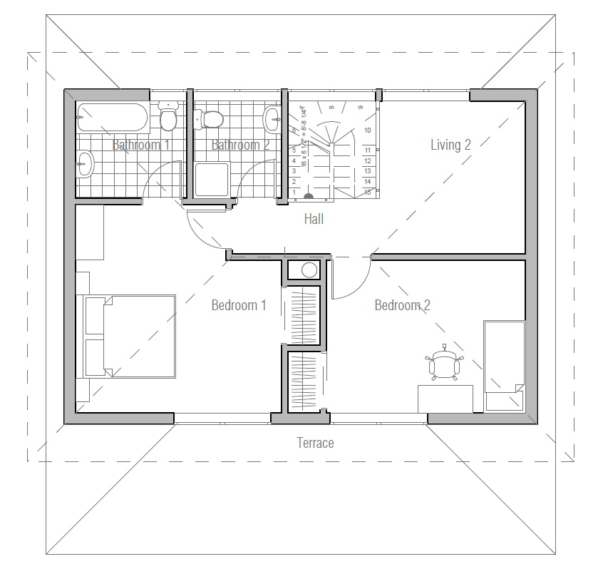 Affordable house plan with two bedrooms three bedrooms for Affordable house plans