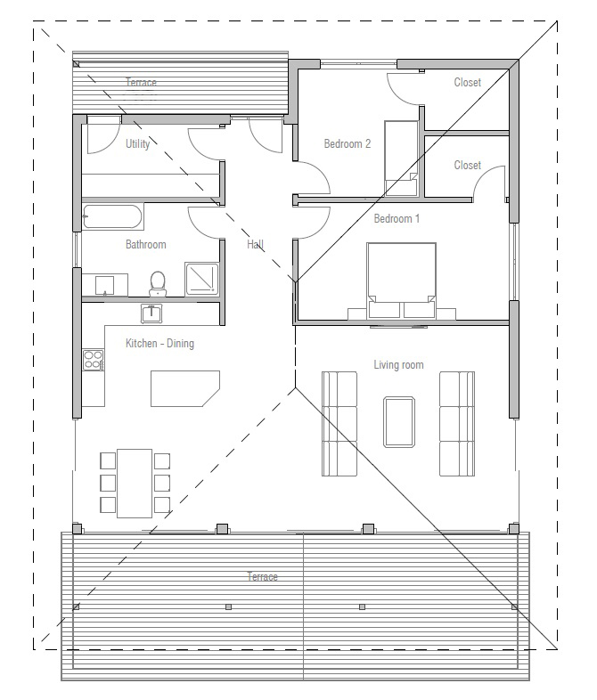Two bedroom small house plan house plan for Small bedroom plan