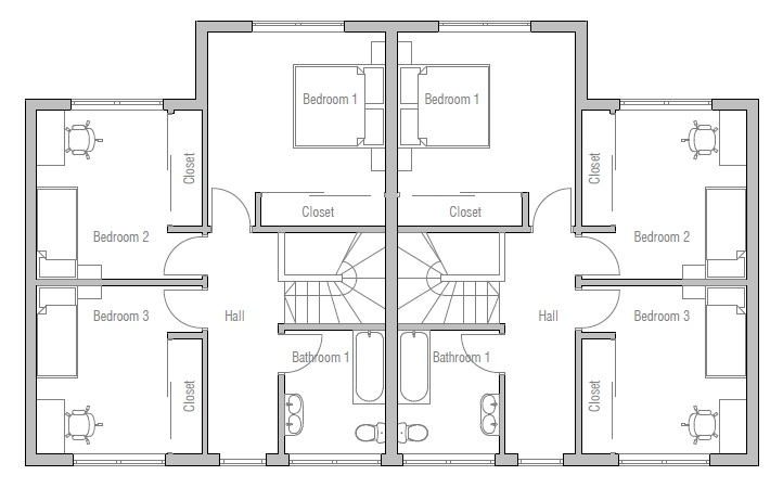 Duplex house plan ch135d house plan
