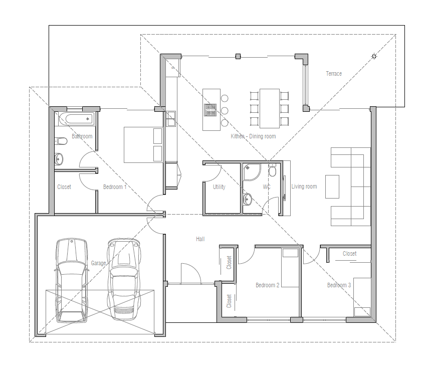 Small house plan with three bedrooms and open plan large for Large 3 bedroom house plans