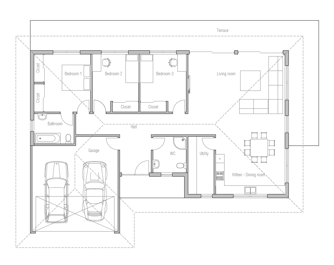 Small house design with three bedrooms ch225 simple for Small 3 bedroom house designs
