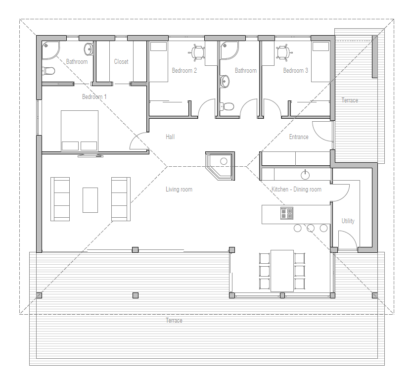 Simple affordable small house plan ch229 house plan for Affordable house plans