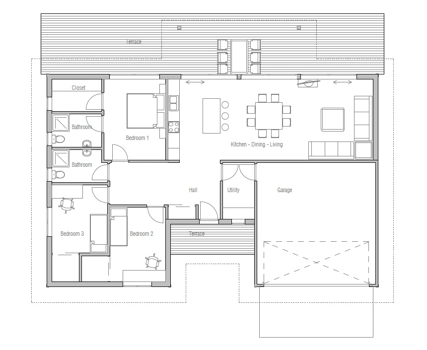Small House Plan With Double Garage Three Bedrooms House