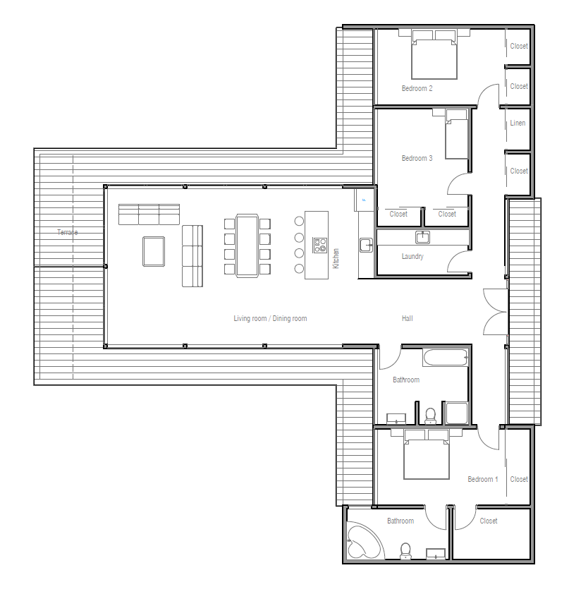 Modern Contemporary Architecture Three Bedrooms House