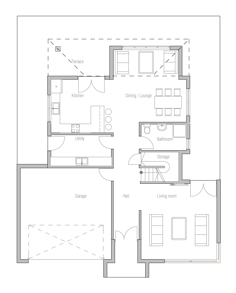 Modern house plan with three bedrooms two floors house plan for Modern 3 bedroom house floor plans