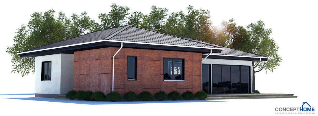 Affordable Home Plan To Narrow Lot With Two Bedrooms Open Plan Vaulted Ceiling In The Living