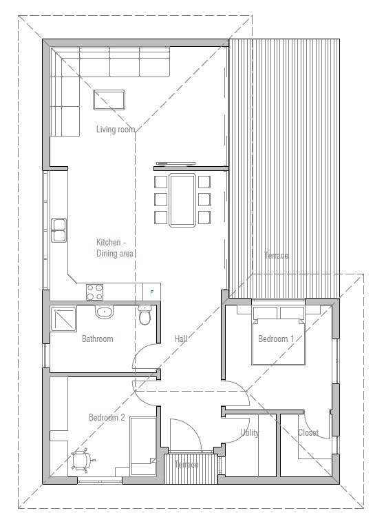 Affordable Home Plan To Narrow Lot With Two Bedrooms Open Plan