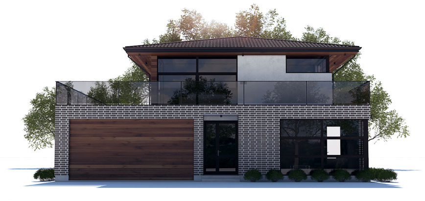 Modern house plan with large balcony house plan ch238 for Modern house design with balcony