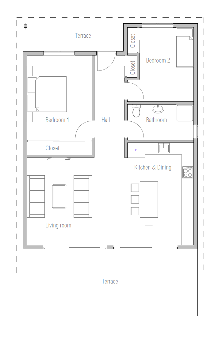 Tiny Affordable Home To Narrow Lot With Two Bedrooms And Open Planning