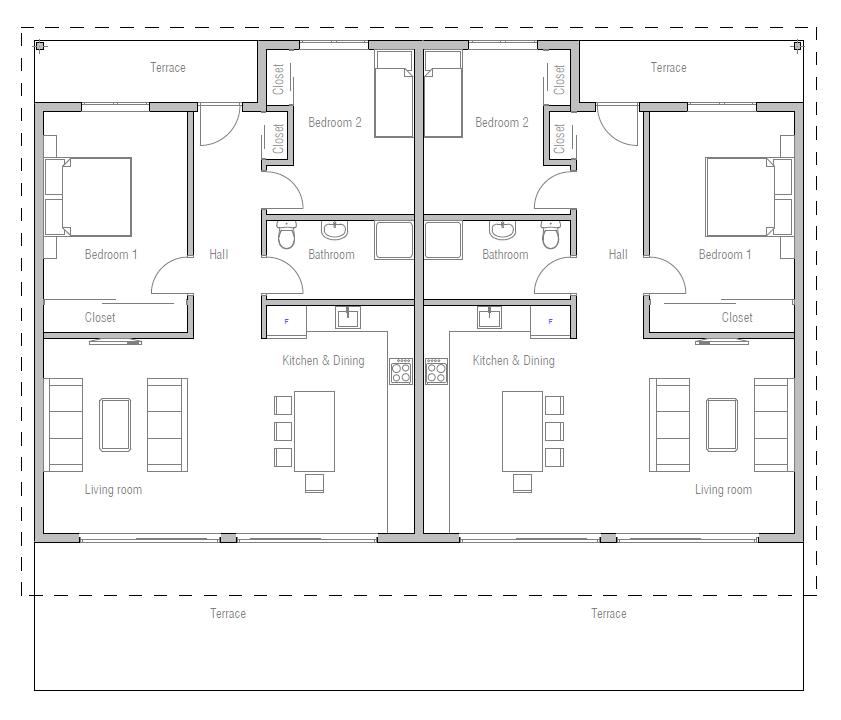 Duplex house plan ch265d house plan for Back to back duplex house plans
