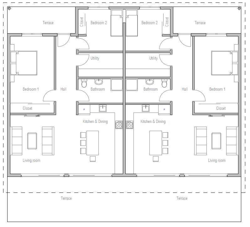 house design duplex-house-plan-ch265D 11