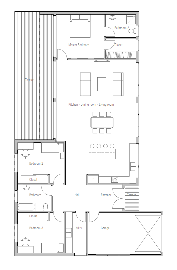 Contemporary home plan to wide lot house plan for Wide lot house plans