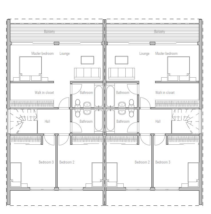 Duplex house plan ch284 house plan for Cheap duplex plans