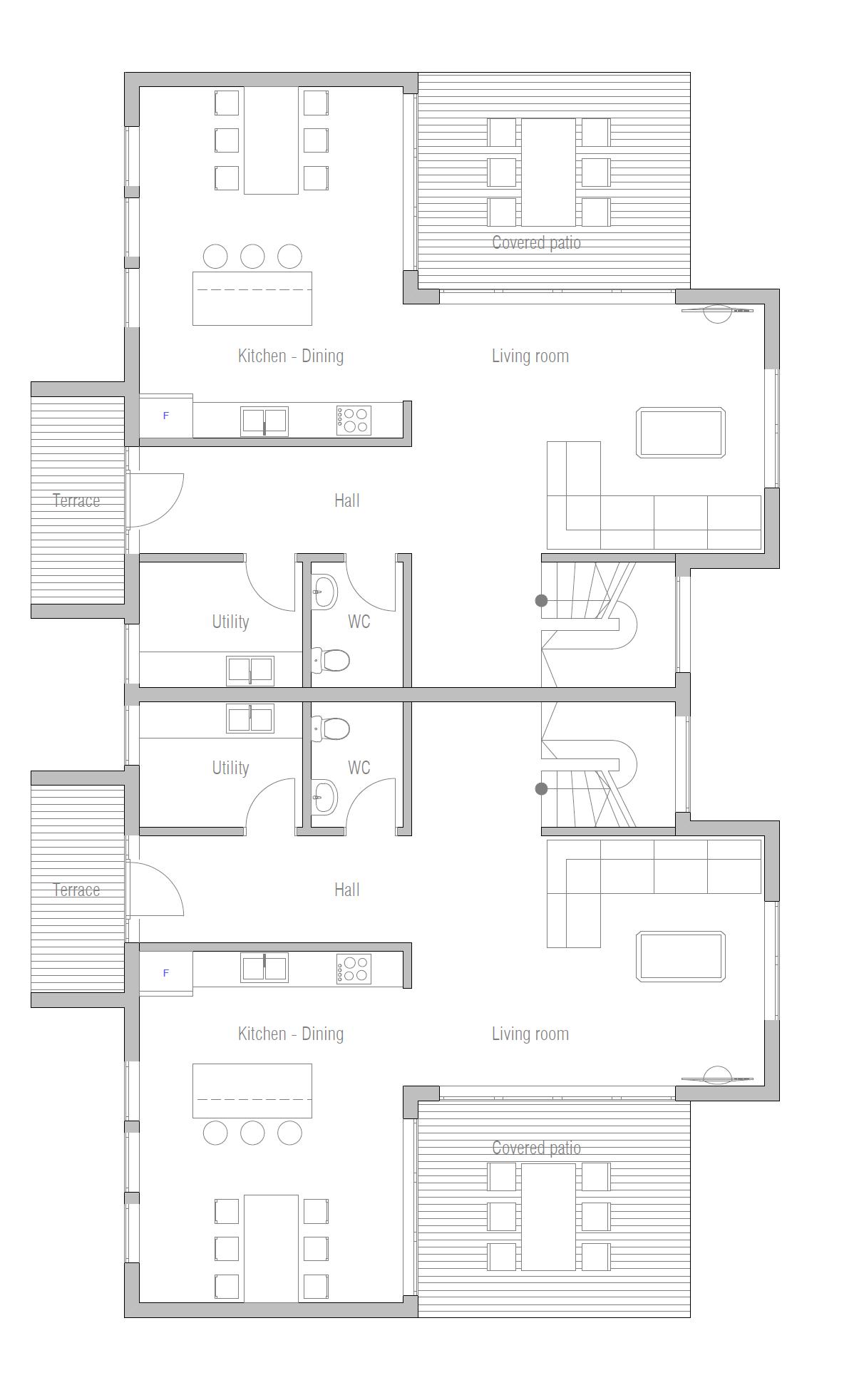 Duplex house plan ch287 house plan for New duplex house plans