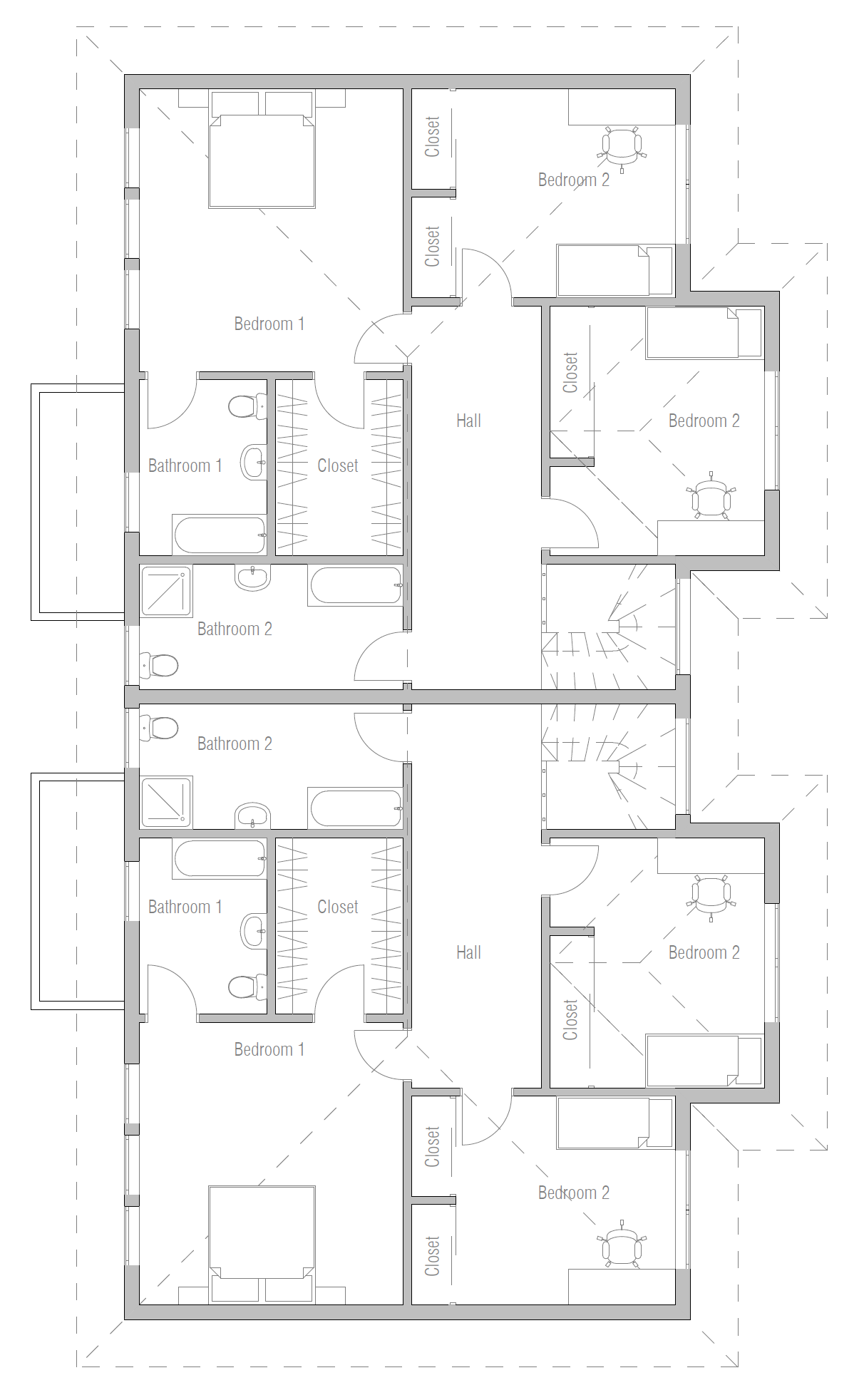 Duplex house plan ch287 house plan for Back to back duplex house plans