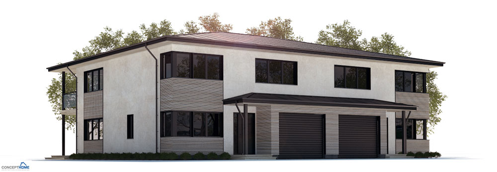 Duplex house plan ch177d in modern architecture house plan - What is duplex house concept ...