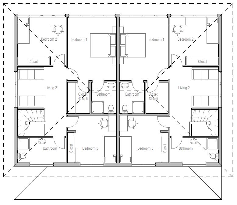 Duplex house plan ch191d house plan for Cheap duplex plans