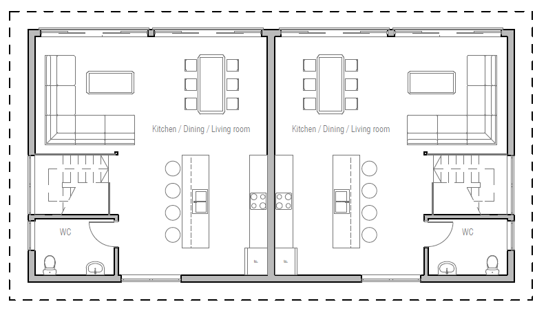 Duplex house plan ch349d house plan for Cheap duplex plans