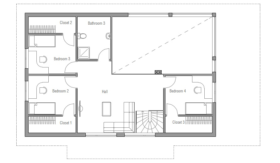 Small House Ch35 - 2F/189M/5B. Modern House Plan House Plan