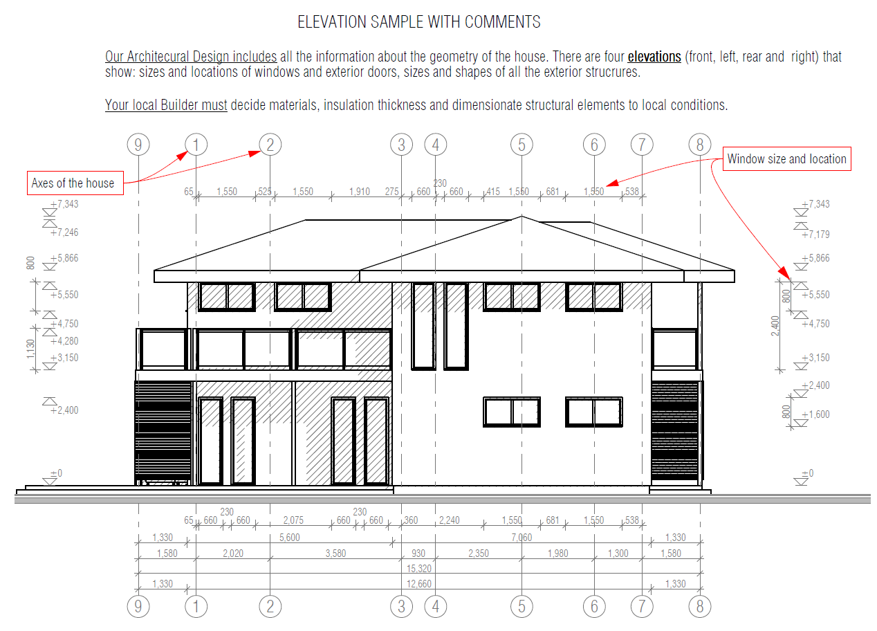 Sample files house plans house designs for Elevation plan