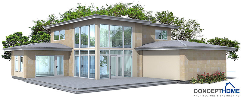 Modern House Plan with nice big windows.